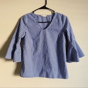 JANE & DELANCEY / blue gingham bell sleeve top /XS